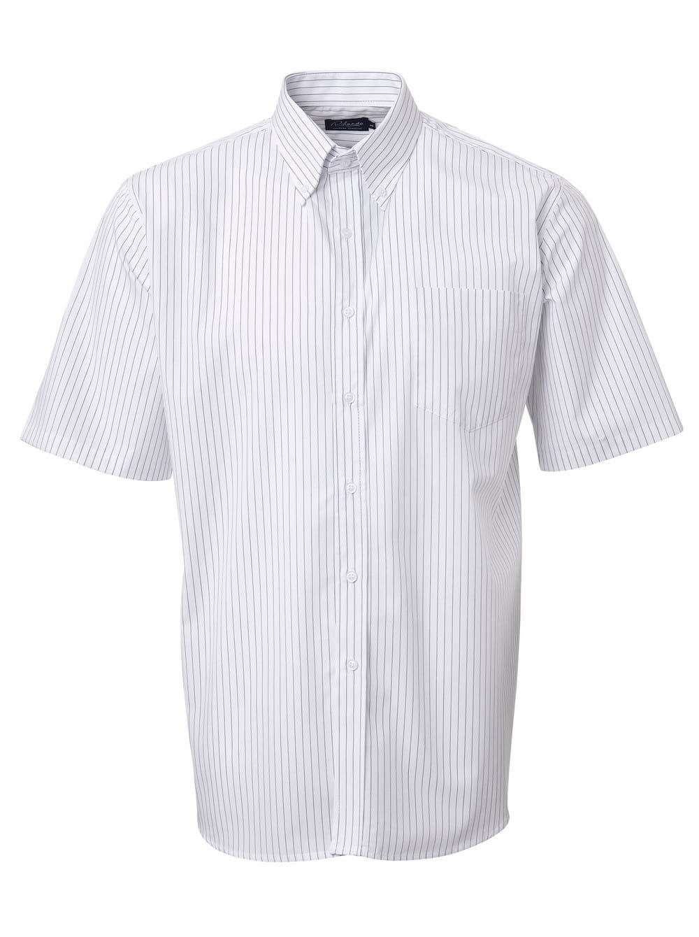 Mens Stripe Short Sleeve Shirt White