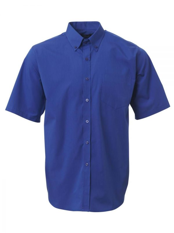 Mens End on End Short Sleeve Shirt French Blue