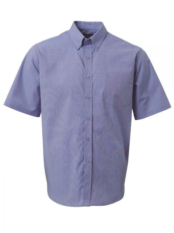 Mens End on End Short Sleeve Shirt Sky Blue