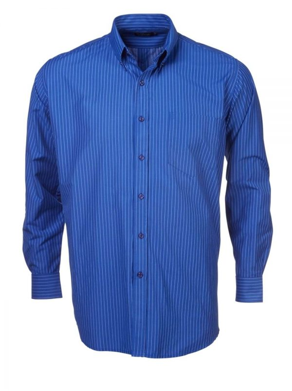 Mens Stripe Long Sleeve Shirt Royal