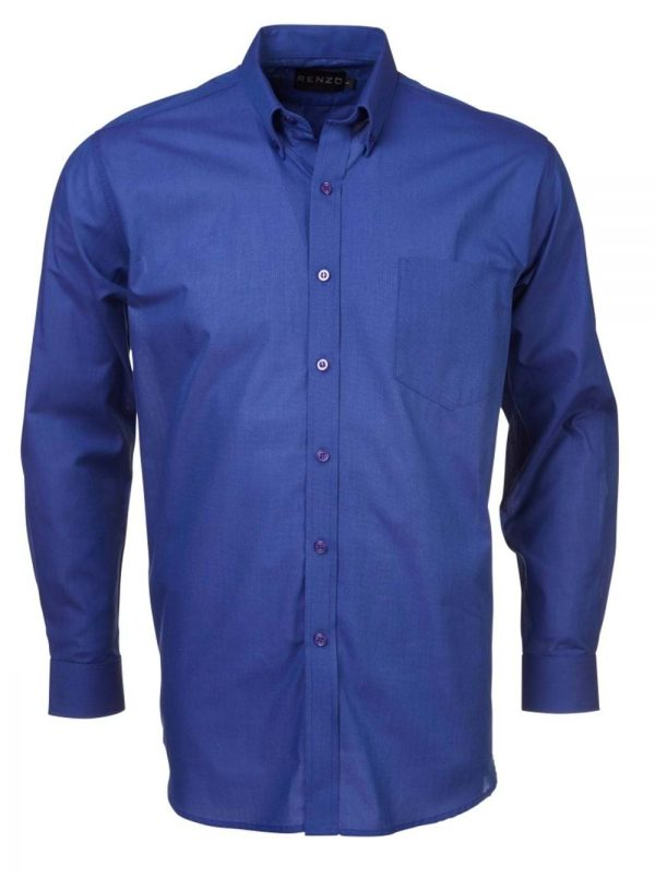 Mens End on End Long Sleeve Shirt French Blue