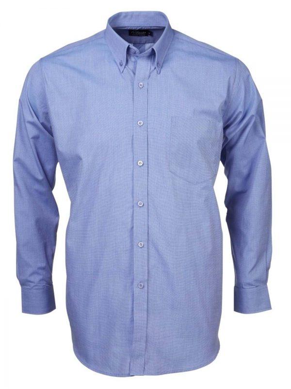 Mens End on End Long Sleeve Shirt Sky Blue