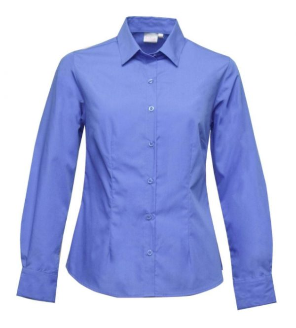 Ladies Cathy Easy Care Poplin LS Blouse Blue
