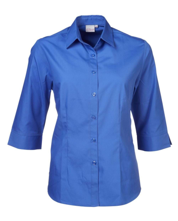 Ladies Cathy Easy Care Poplin SS Blouse Blue
