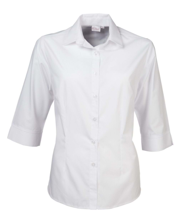 Ladies Cathy Easy Care Poplin SS Blouse White