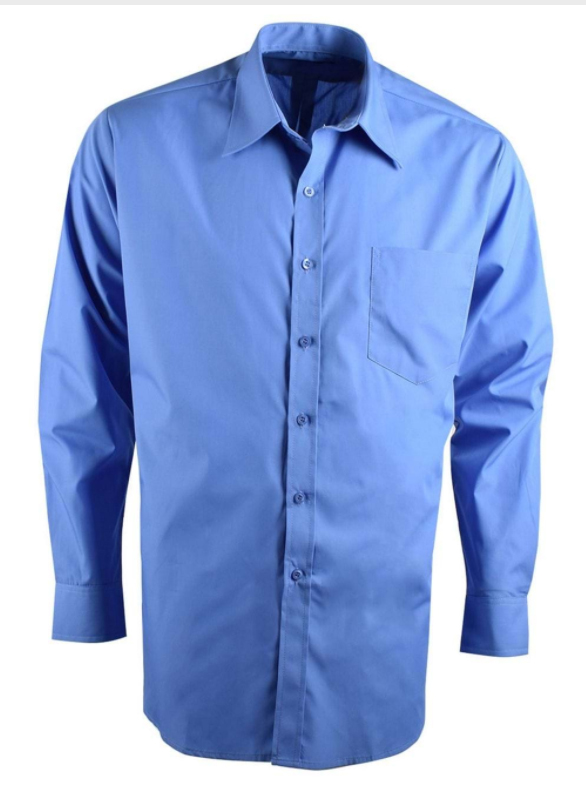 Mens Easy Care Poplin LS Shirt Blue