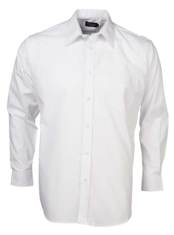 Mens Easy Care Poplin LS Shirt White