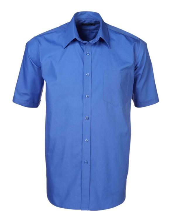 Mens Easy Care Poplin SS Shirt Blue