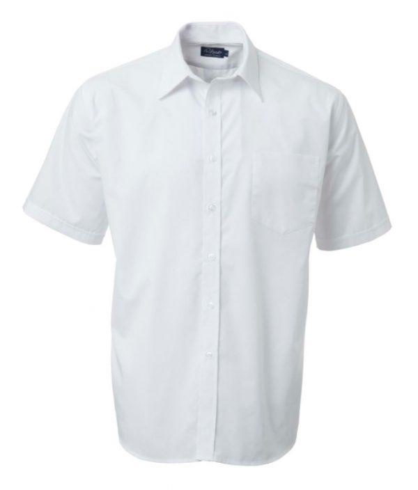 Mens Easy Care Poplin SS Shirt White